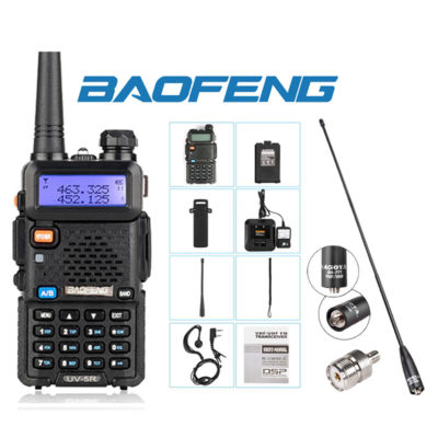 Dual Band (VHF/UHF) Analog Portable Two-Way Radio w/Antenna and Adaptor SMA to UHF